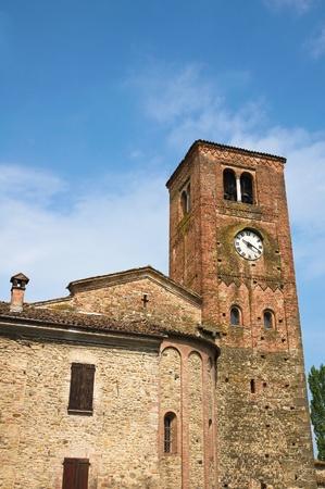 clocktower: St Giovanni church  Vigolo Marchese  Emilia-Romagna  Italy  Stock Photo