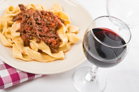 gastronomic: Tagliatelle with Bolognese Sauce   Stock Photo