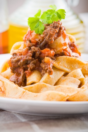 Tagliatelle with Bolognese Sauce. photo