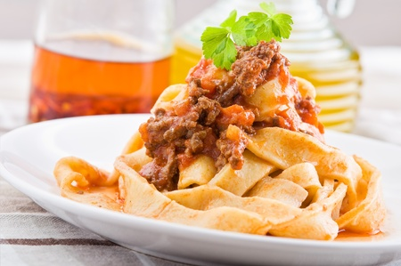 Tagliatelle with Bolognese Sauce.