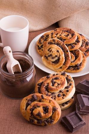 Chocolate chip brioche buns  photo