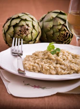 Risotto with artichokes.