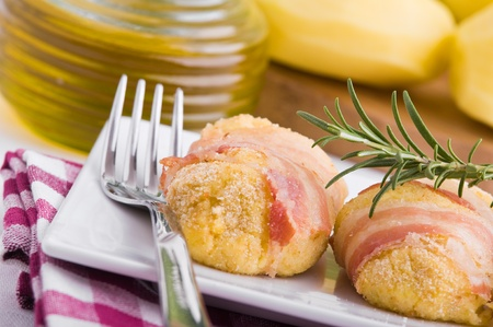 savoy cabbage: Savoy cabbage and potato croquettes. Stock Photo