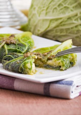 savoy cabbage: Savoy cabbage roulades  Stock Photo