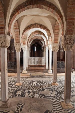 pilaster: Crypt of St. Savino Basilica. Piacenza. Emilia-Romagna. Italy. Stock Photo
