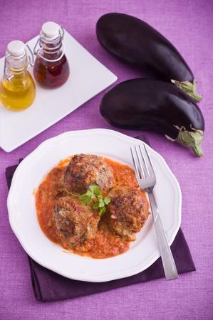 Eggplant meatballs.  photo