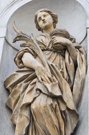 st lucia: Marble statue. St. Lucia Church. Parma. Emilia-Romagna. Italy.