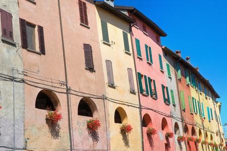 urbanistic: Alleyway. Brisighella. Emilia-Romagna. Italy. Stock Photo