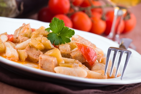 Cavatelli with swordfish and eggplant. photo