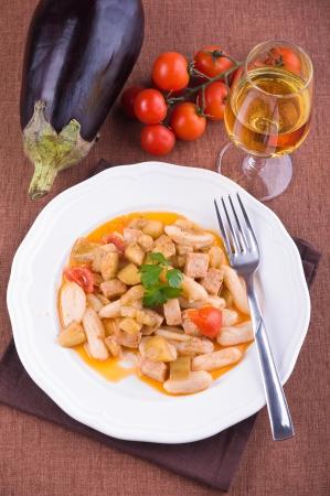 Cavatelli with swordfish and eggplant. photo
