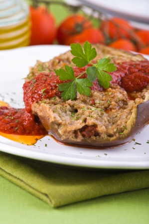 Stuffed eggplant. photo