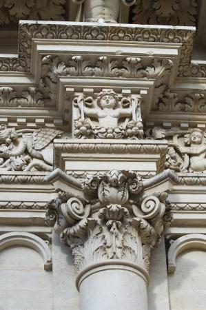 exterior architectural details: Santa Croce Basilica. Lecce. Puglia. Italy.