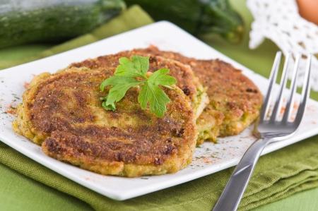 Zucchini omelettes. Stock Photo