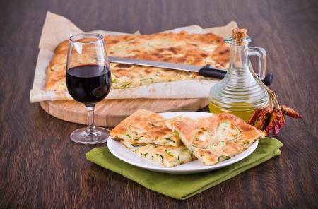 Focaccia with zucchini. photo