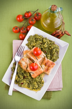 Zucchini focaccia with broccoli. Stock Photo - 13993067