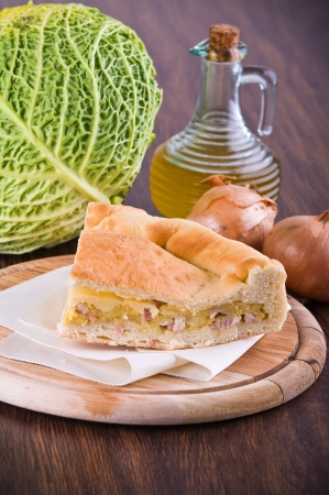 Savoy cabbage calzone. photo