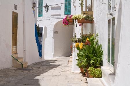 puglia: Alleyway. Ostuni. Puglia. Italy. Stock Photo