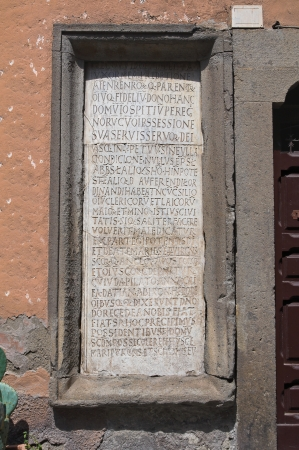 memorial plaque: Commemorative plaque. Viterbo. Lazio. Italy. Editorial