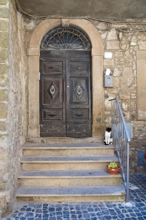 Wooden door. Montefiascone. Lazio. Italy. photo