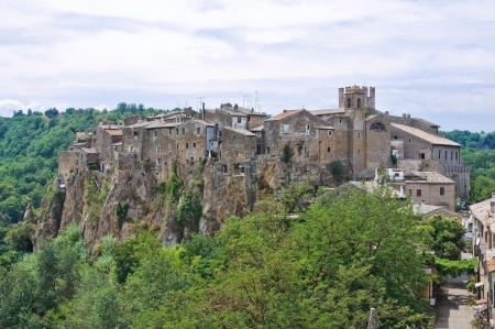 Panoramic view of Calcata  Lazio  Italy  photo