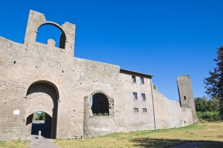 etrurian: Fortified walls. Viterbo. Lazio. Italy.  Stock Photo
