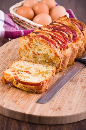 Bell pepper and olive loaf.  photo
