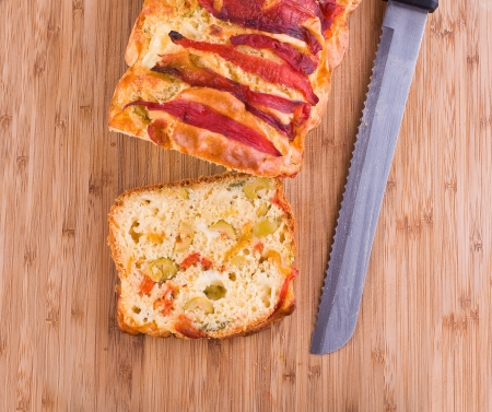 cheese cake: Bell pepper and olive loaf.