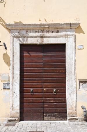 etrurian: Wooden door. Narni. Umbria. Italy. Stock Photo