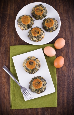 Spinach cakes on white dish  Stock Photo - 15657184
