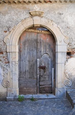 calabria: Wooden door. Scalea. Calabria. Italy.  Stock Photo