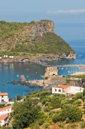 praia: Panoramic view of Praia a Mare. Calabria. Italy. Stock Photo