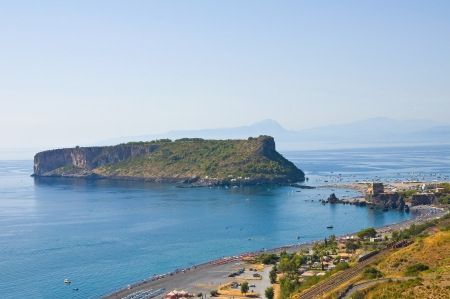 Panoramic view of Praia a Mare. Calabria. Italy. Imagens