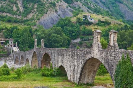 Hunchback bridge  Bobbio  Emilia-Romagna  Italy   photo