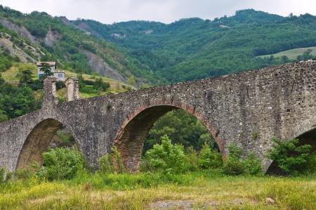 corcovado: Jorobado puente. Bobbio. Emilia-Roma�a. Italia. Foto de archivo