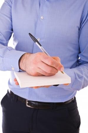 Businessman writing letter.