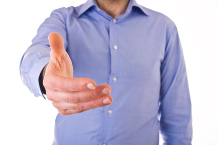 stipulation: Young business man giving hand. Stock Photo