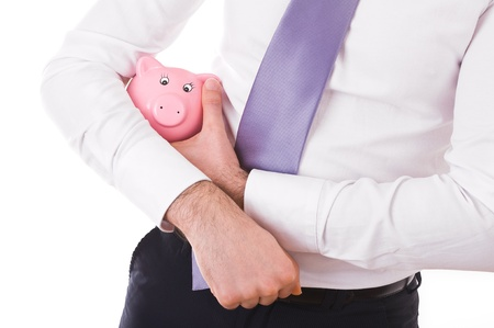 parsimony: Businessman holding a piggy bank.