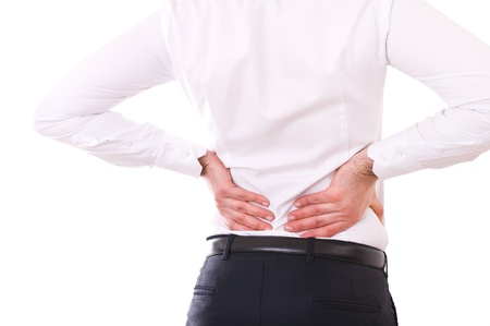back posing: Businessman with backache. Stock Photo
