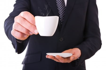 Business man offering cup of coffee Stock Photo - 18550135