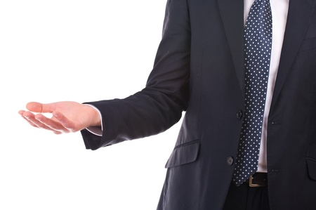 imploring: Businessman showing empty hand  Stock Photo