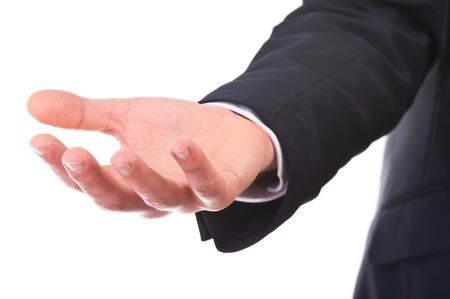 imploring: Empty businessman hand  Stock Photo