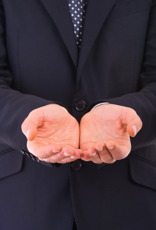 clemency: Businessman holding empty hands  Stock Photo