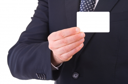 Business man showing blank card. Stock Photo - 18640497