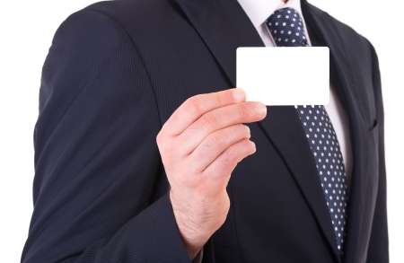 bancomat: Business man showing blank card.