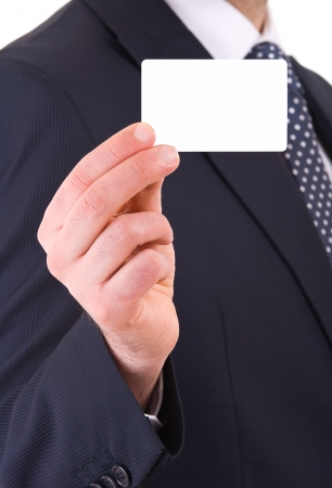 press agent: Business man showing blank card.