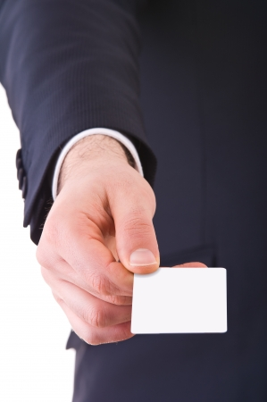 Business man offering blank card  photo