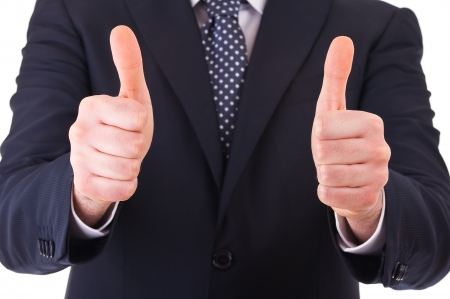 great idea: Business man showing thumbs up sign  Stock Photo