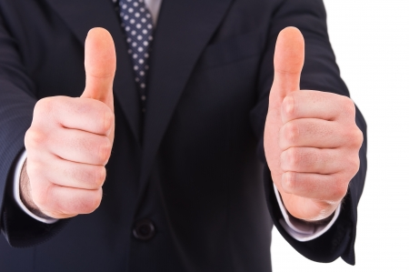 Business man showing thumbs up sign  Stock Photo