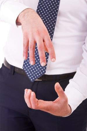 Businessman gesturing with both hands  photo