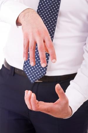 gestural: Businessman gesturing with both hands
